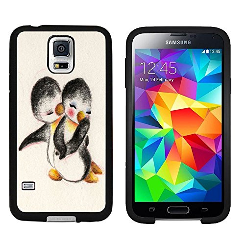 Galaxy S5 Case, Laser Technology for Protective Samsung Galaxy S5 Case Black DOO UC (TM) - Cute penguin couples