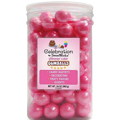 Sweetworks Gumballs Jar, 34 oz, Shimmer Bright Pink