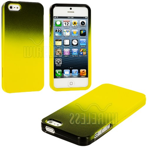 =>  myLife (TM) Yellow + Black Two Tone Series (2 Piece Snap On) Hardshell Plates Case for the iPhone 5/5S (5G) 5th Generation Touch Phone (Clip Fitted Front and Back Solid Cover Case + Rubberized Tough Armor Skin + Lifetime Warranty + Sealed Inside myLife Authorized Packaging)