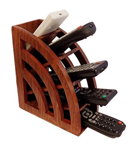 Wooden Multi Remote Control Holder/stand/organizer/rack for Space Saving 4 Slot TV Remote Control Storage Organizer Caddy (Remote Control Caddy Wood compare prices)