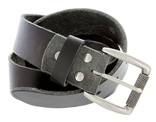 "Cooper Full Grain Leather Cowhide Belt With Roller Buckle - Made In The Usa - 38Mm (1-1/2"") Wide (28 Black)"