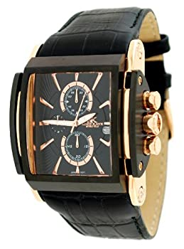 Adee Kaye #AK9294-MRG Men's Black IP Rose Gold Tone Curved Crystal Leather Band Chronograph Watch