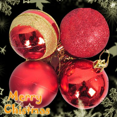 Christmas Tree Decoration Red 4 Pack Mixed Shinning