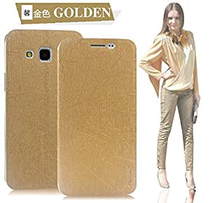 Pudini Rain leather flip cover for Samsung J5 - Gold