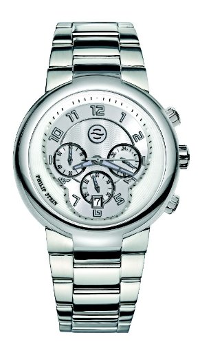 Philip Stein - 32-AW-SS - Montre Mixte - Quartz Analogique - Cadran Blanc - Bracelet Acier Argent
