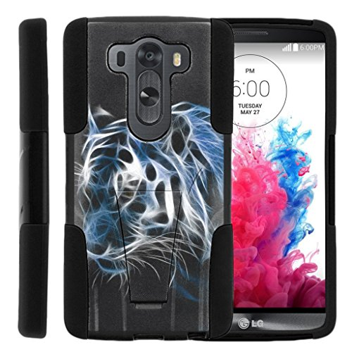 LG V10 Stand Case, LG G4 Pro Shell [STRIKE IMPACT] Hard Shell Silicone Bumper Case Dual Action with Kickstand by Miniturtle® - Blue White Tiger (Blue Tiger Pro compare prices)
