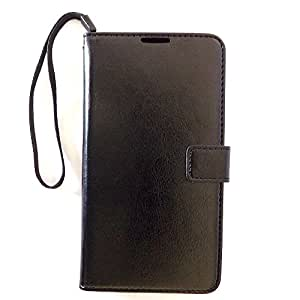 Bracevor Deluxe Black Leather Wallet Stand Case for Samsung Galaxy Note 3 Neo N7506