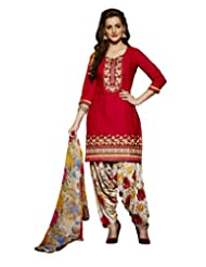 Mastani Kreation Red Pure Cambric Cotton Embroidered Dress Material
