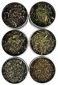 Loose Leaf Green Tea Sampler, Exotic and Rare Green Tea Loose Leaf Tea Sampler, Dragon Well, Gunpowder, Sencha, and More, Loose Tea Sampler