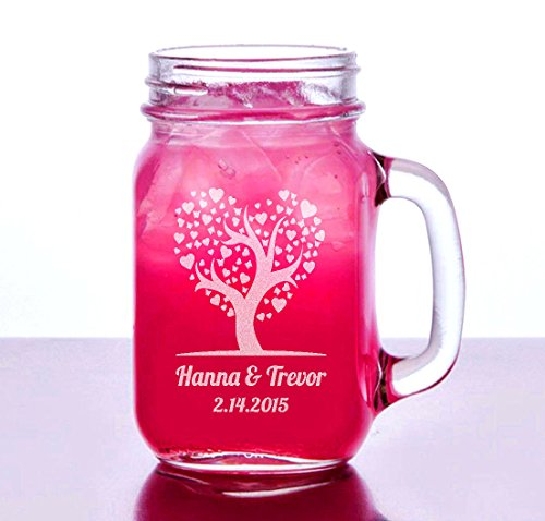 Love Heart Tree Valentines Day Gift Idea Engraved Mason Jar 16 Oz Glass with Handle Mug Personalized Drinking Glass Etched with Name and Date for Wedding, Engagement Anniversary Gift of Favor for Newlyweds Couple Etched Laser Engraved His and Hers Couple