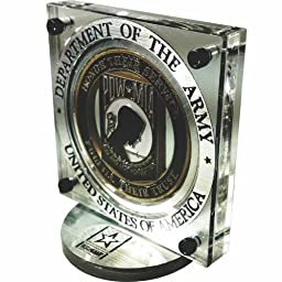 United States Army Challenge Coin Display with Black Firearm Finish Fasteners