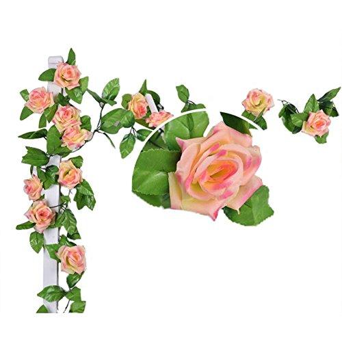 Knstlich-Rose-Blatt-Efeu-Girlande-Blumen-Dekoration-Dunkel-Rosa