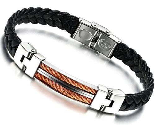 Stayoung Jewellery Love Bridge Men Stainless Steel Bracelet/Bangle Black Leather 3 Colour-Orange Silver
