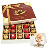 Nicely Decorated Brown Chocolate Box With Birthday Card - Chocholik Belgium Chocolates