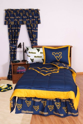 West Virginia Mountaineers (3) Piece King Size Reversible Comforter Set And Set Of Two (2) Matching Window Curtain Valances - Entire Set Includes: (1) King Size Reversible Comforter, (2) Pillow Shams And (2) Matching Window Curtain Valances - Save Big By front-1034038