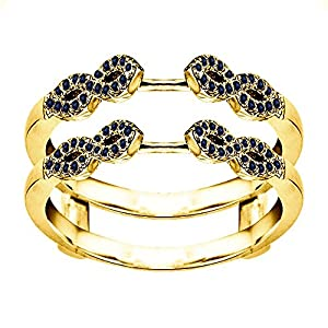 0.38CT Sapphire Infinity Ring Guard Enhancer set in Yellow Plated Sterling Silver (0.38CT TWT Sapphire)