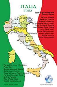 Amazon.com : Poster in Italian - Map of Italy and Its Regions, for