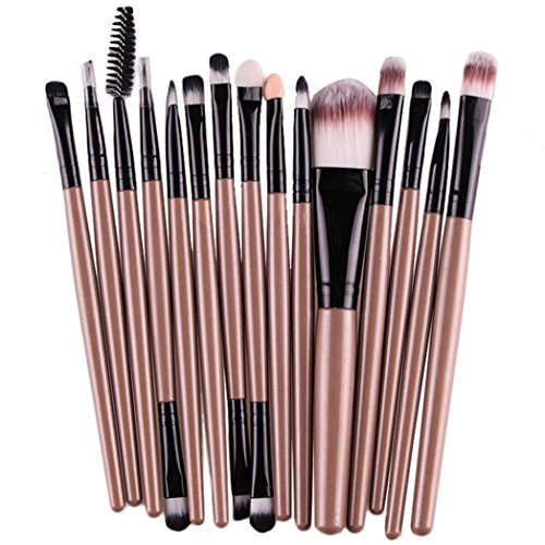 Start 15 pcs/Sets Makeup Brush Set for Eye Shadow Foundation Eyebrow Lip (Gold) (Nail Covers For Wet Nails compare prices)