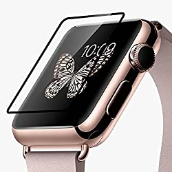 Hoco Apple Watch Screen Protector Pinhen 0.1mm Black Tempered Glass Screen Protector Full Cover Edge Screen Protector for Apple Watch Band(glass 0.1mm Black 42mm)