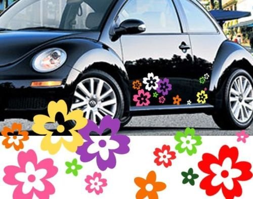 64 Mixed Color Wild Flower Shape Vinyl Car Decals (External Fitting) (Colorful Flower Car Decals compare prices)
