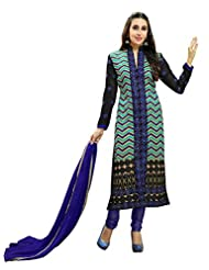 Aarti Saree Trendy Fashionable Blue And Green Straight Suit With Heavy Embroidery Work