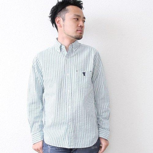 コーエン(メンズ)(coen) サッカーストライプBDシャツ【ダークグリーン/XS(10)】
