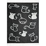 Cute Cats Black Throw | 100% Pure New Wool