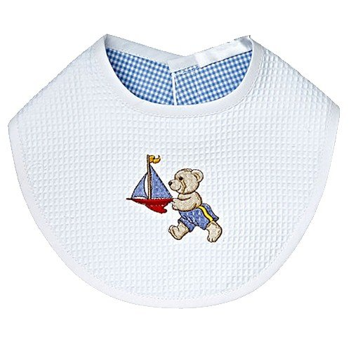 Jacaranda Living Baby Bib, Teddy Racing Boat - 1