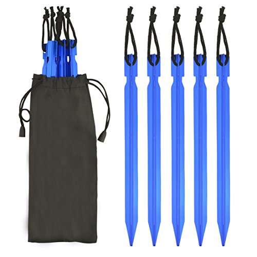 Jmkcoz 10 Pack Aluminum Alloy Stakes Tent Pegs Solid Strong Tent Pegs for Camping Hiking Blue (Commercial Tent Stakes compare prices)