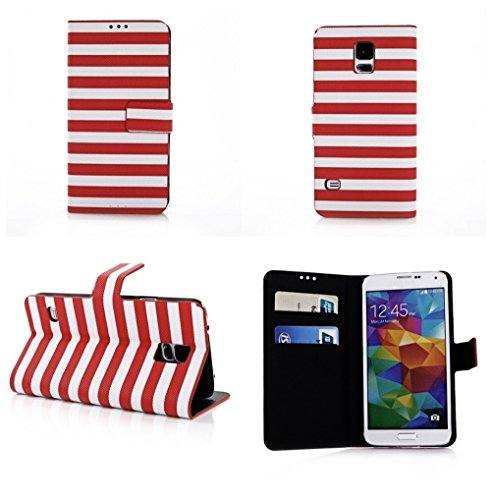 Mylife (Tm) Alizarian Red + Clear White Stripes - Modern Design - Koskin Faux Leather (Card, Cash And Id Holder + Magnetic Detachable Closing) Slim Wallet For New Galaxy S5 (5G) Smartphone By Samsung (External Rugged Synthetic Leather With Magnetic Clip +