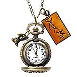 LeCAT Vintage Drink Me Pocket Watch Quartz Watch Alice in Wonderland Rabbit
