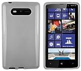 Mumbi TPU Silicone Protective Phone Case for Nokia Lumia 820 Transparent Black and White