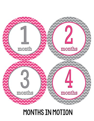 Months in Motion 228 Baby Month Stickers Baby Girl Pink Chevron Months 1-12