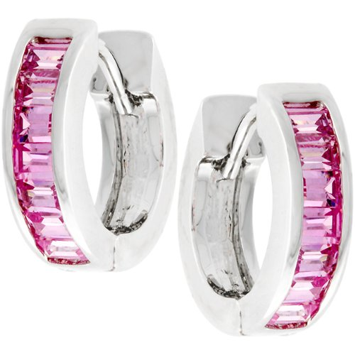 Pink Channel Set Silver Tone Cubic Zirconia CZ Hoop Earrings