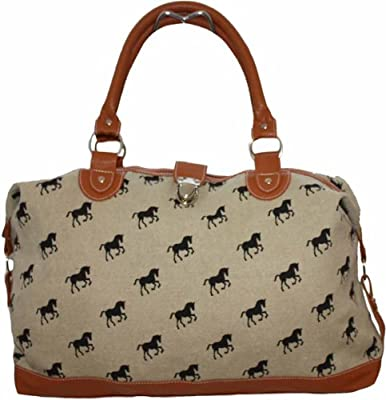 Ladies Womens Large Oversized Horse Pony Tapestry Faux Leather and Canvas Handbag Weekend Maternity Overnight Bag