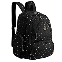 S-ZONE Baby Diaper Bag Travel Backpack Organizer with Changing Pad and Stroller Straps(Black Dot)