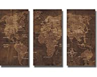 The World by Luke Wilson 3-pc Custom Stretched Canvas Map Set (Ready to Hang)