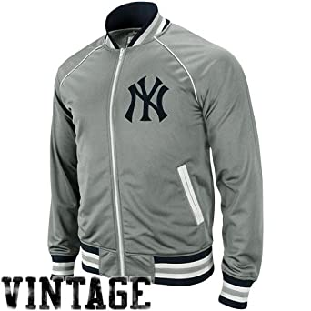 Mitchell and Ness New York Yankees Gray Broad Street Track Jacket by Mitchell & Ness