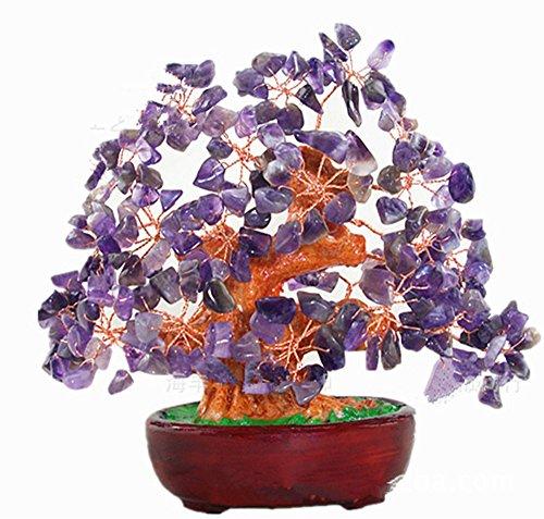 Feng Shui Natural Amethyst Quartz Gem Stone Money Tree