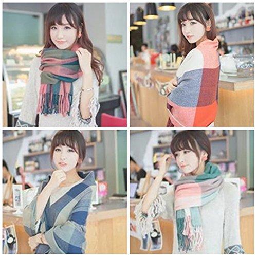 【Momo´s fashion shop】 大判 マフラー ストール チェック レディース  [ カラー選択可] マフラー ストール (4.BLUE×GREY)