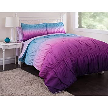 New Bed in a Bag pc Teen Girl Reversible Purple Tie Dye Twin Comforter Set