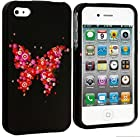 myLife Pink Butterfly of Flowers Series (2 Piece Snap On) Hardshell Plates Case for the iPhone 4/4S (4G) 4th Generation Touch Phone (Clip Fitted Front and Back Solid Cover Case + Rubberized Tough Armor Skin)