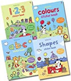 Various Usborne First Sticker Book Collection - 4 Books RRP £19.96 (123; ABC ; Colours; Shapes)