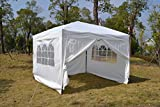 Exacme White 10x10 ft Ez POP up Wedding Canopy Gazebo Party Tent W/ Side Walls and Carry Case 6051