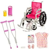 Beverly Hills Doll Collection Wheelchair Set for 18 Inch American Girl Dolls Fully Assembled Wheelchair, Doll Crutches & Casts with full Hospital Gown