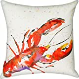 Manual Climaweave Indoor/Outdoor Square Decorative Throw Pillow, 18-Inch, Painted Sealife Lobster