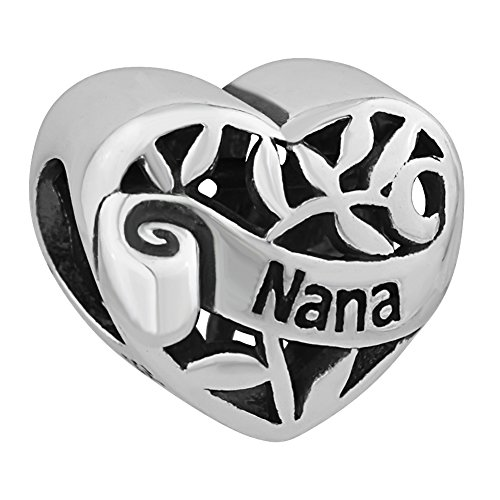I Love You Family Tree of life Heart Authentic 925 Sterling Silver Bead Fits Pandora Charms (Nana)