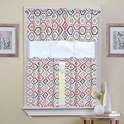 Miranda Luxurious Polyester & Cotton Blend 3-pc. Tier Kitchen Curtain Set