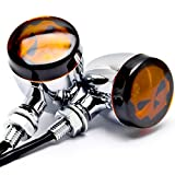 2 x Skull Motorcycle Parts Custom Amber Bulbs Blinkers Indicators Lights Turn Signals Lights Accessories Chorme Fit For Kawasaki Vulcan Classic Custom 900