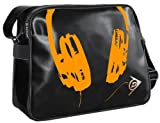 Dunlop Holdall Mens Messenger Shoulder Vintage Despatch Bag Back To School College Headphones Black Orange